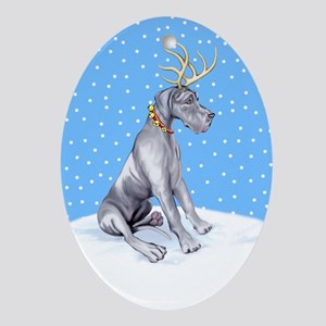 Great Dane Deer Blue UC Oval Ornament